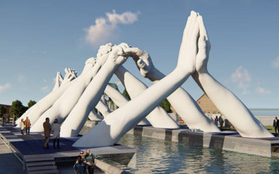 "Venice: An incredible sculpture of hands has been created to ""build bridges"" during Venice art Biennale"