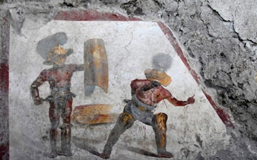 A fresco of gladiators uncovered in Pompeii