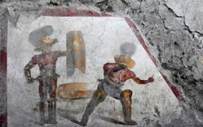A fresco of gladiators uncovered in Pompeii