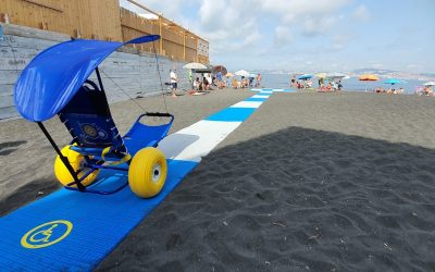 The first walkway for disabled access on a free accessible beach, In Italy at Herculaneum Naples