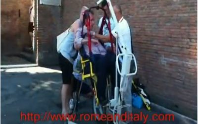 Roman Forum with our special wheelchair and hoist for unaccessible site