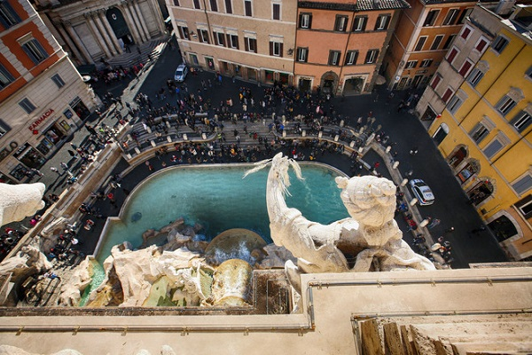 A terrace by Trevi Fountain